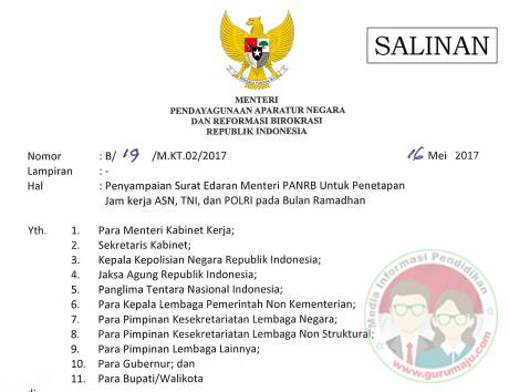 Penetapan Jam Kerja ASN, TNI dan POLRI Pada Bulan Ramadhan Tahun 2017
