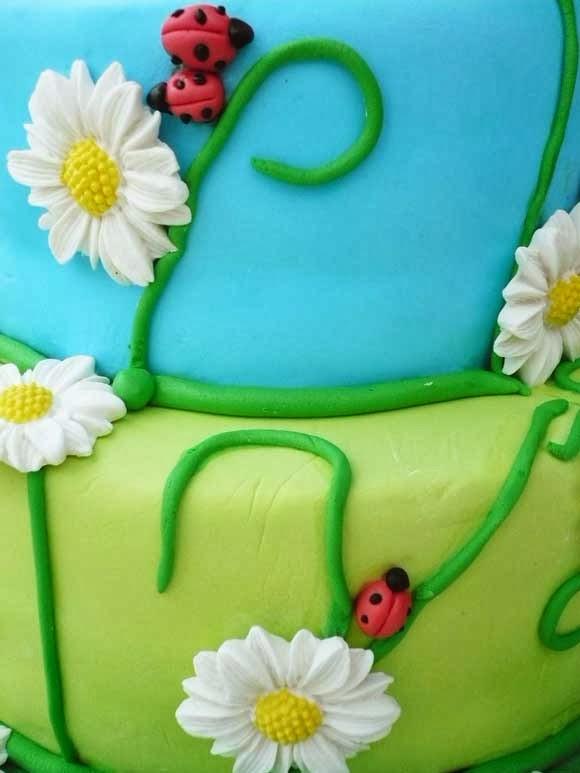 vrolijke taart met margrieten en lieve heersbeestjes