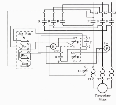 A Wiring    Diagram    of a    Forward    and    Reverse    Jogging Circuit   Elec Eng World