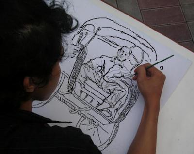 Gambar Sket model becak dan pengemudi