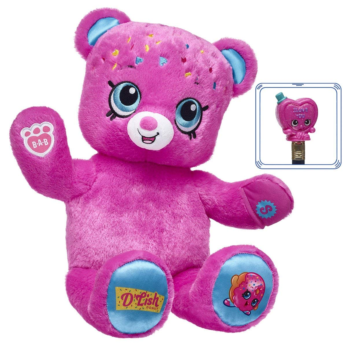 Build A Bear Workshop Shopkins D'lish Donut Teddy Bear with Exclusive Collectible Shopkins Figure