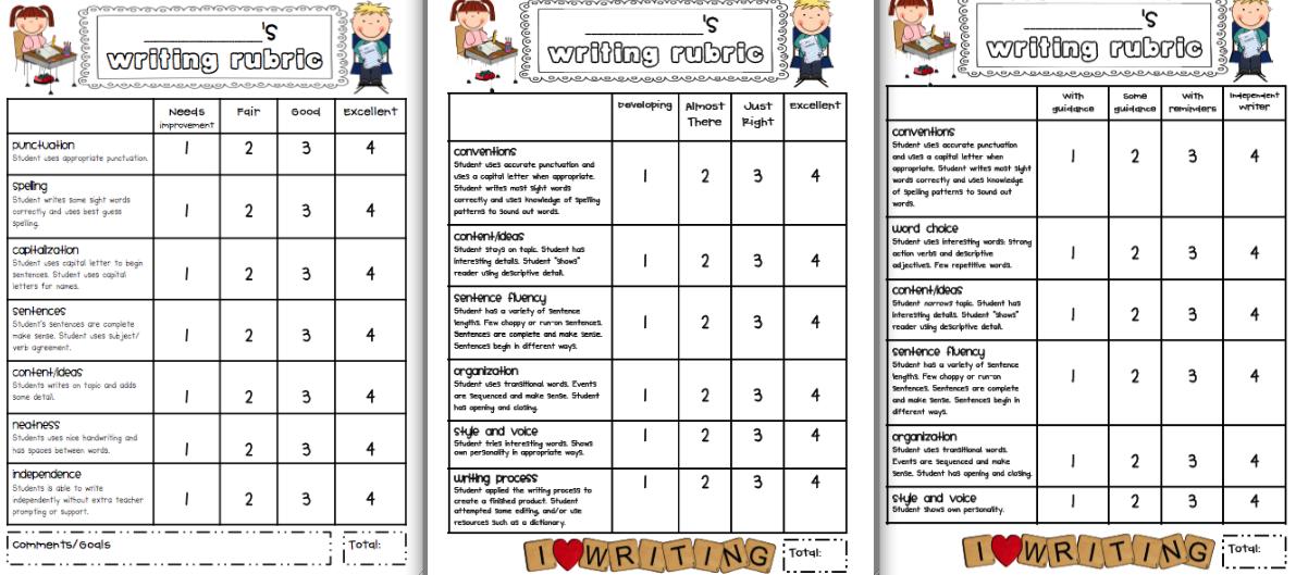 First grade creative writing rubric