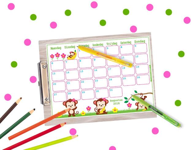 vrolijke kalenders, kalender voor kinderen, bujo kalender, kalender om zelf te printen, print je kalender, kalender per maand, aftelkalender, kalender voor kids, grappige kalender, 2018 kalender, 2018 augustus, augustus 2018