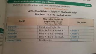 توزيع منهج اللغة الانجليزية الصف الثالث الاعدادي الترم الاول 2018