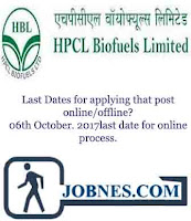 HPCL Biofuels Limited Recruitment 2017 for various posts  apply online here