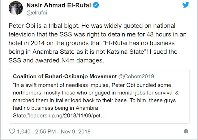 Peter Obi Is A Tribal Bigot, Says el-Rufai