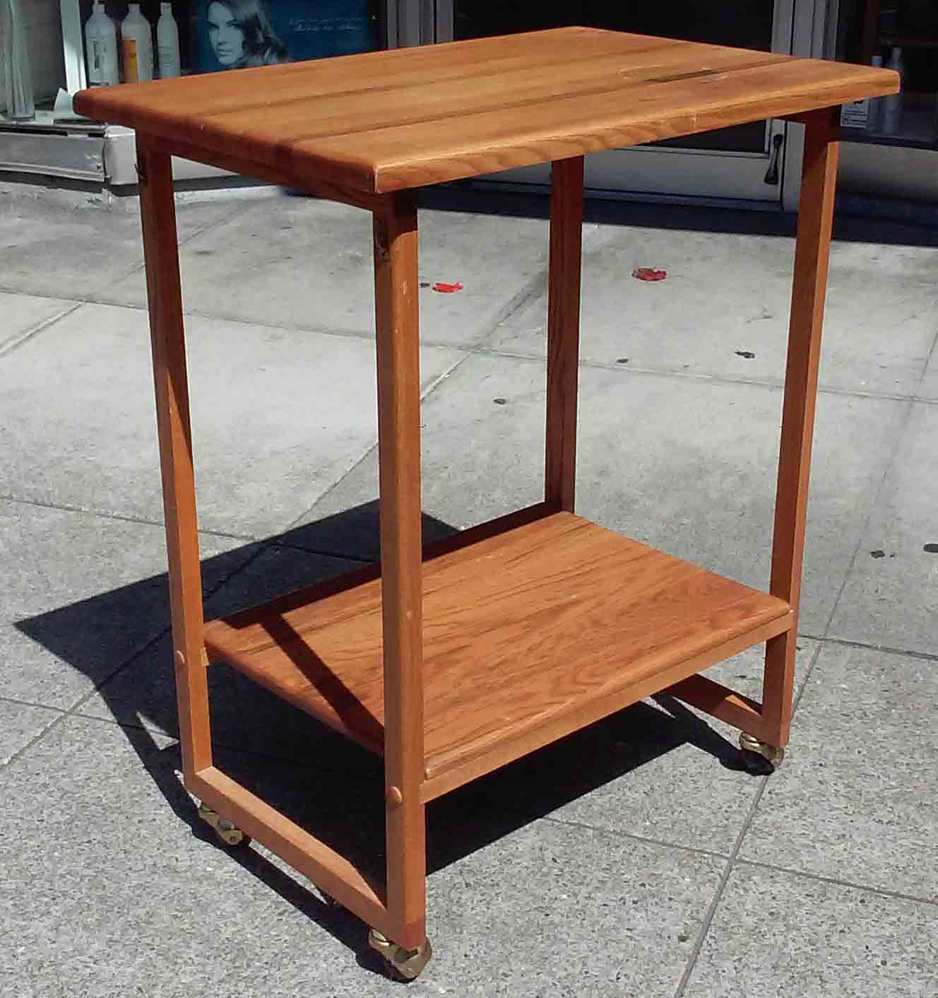 UHURU FURNITURE & COLLECTIBLES: SOLD Oak Butcher Block Kitchen Cart - $45