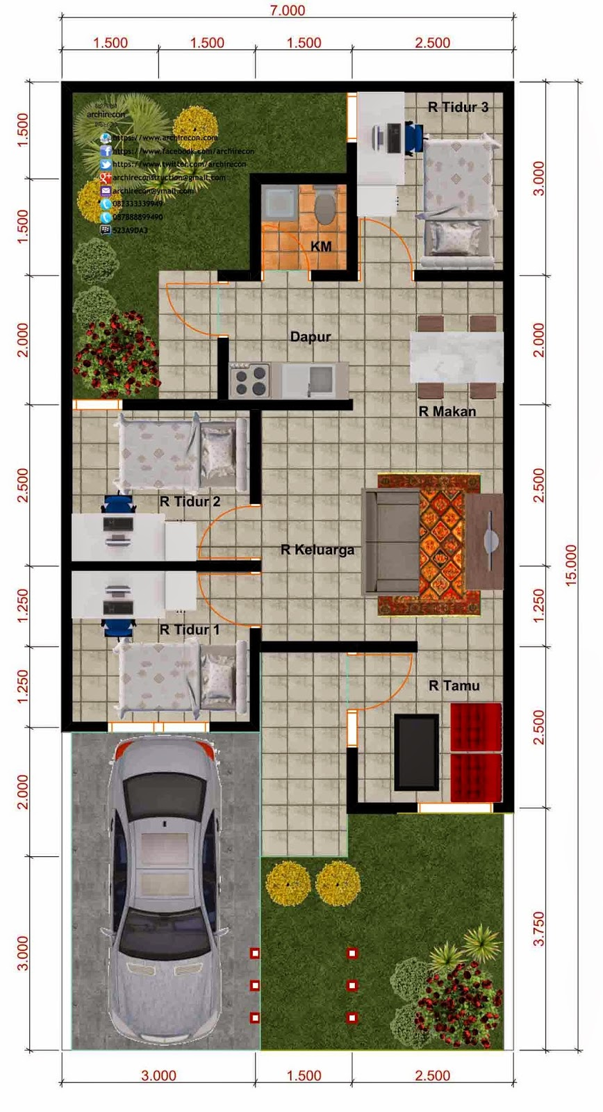 Desain Rumah Minimalis - Denah Type 55