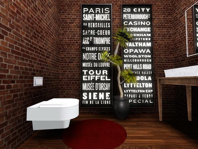 toilette déco loft sims 3