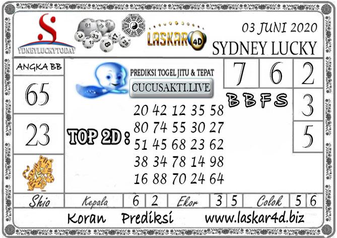 Prediksi Sydney Lucky Today LASKAR4D 03 JUNI 2020