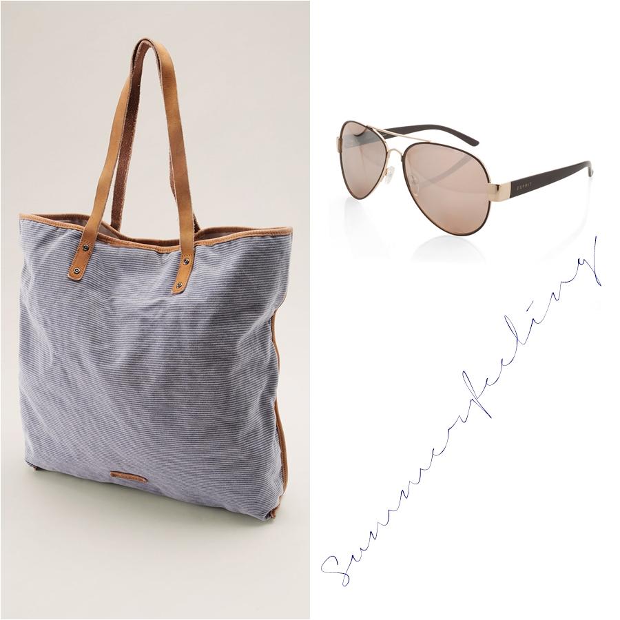 Baumwoll Shopper mit Lederhenkeln Sonnenbrille