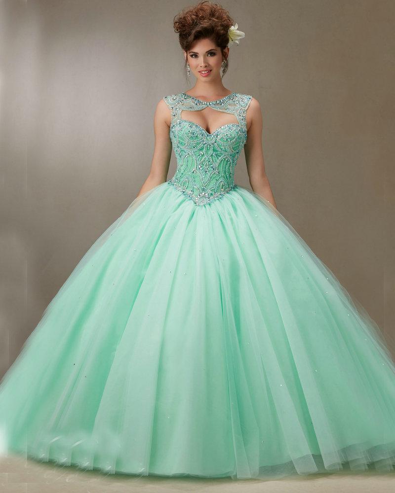 Vestido de xv color verde agua