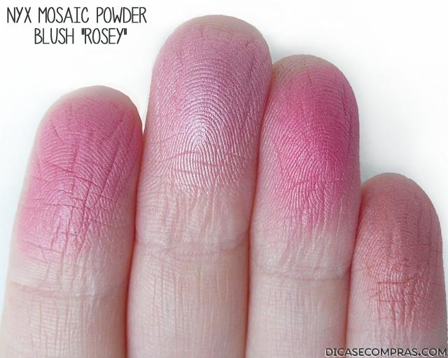 "Resenha e Swatches: NYX Mosaic Powder Blush ""Rosey"""