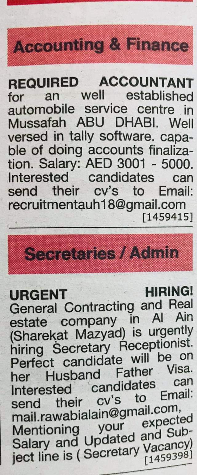 Required Accountant % Secretary Receptionist for UAE JOBS Local