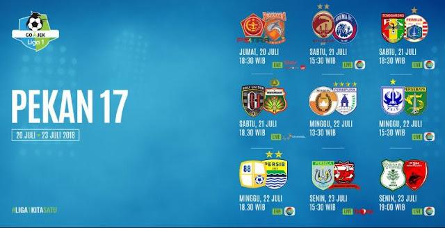 Jadwal Liga 1 2018 Pekan 17 - Pekan Pertama Putaran Kedua