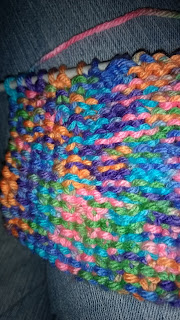 Close up view of knitted stitches