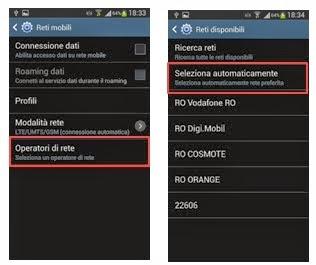 android, modalità ricerca automatica della rete mobile (selezione operatore)