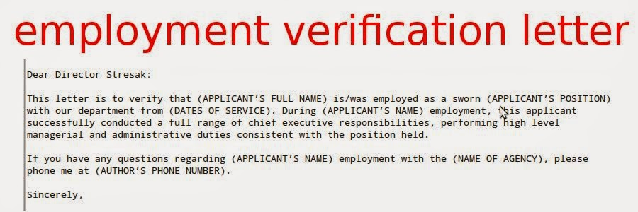 Sample Letter For Employment Verification Immigration Free