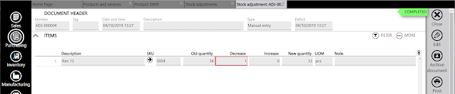 stock adjustment set quantity completed