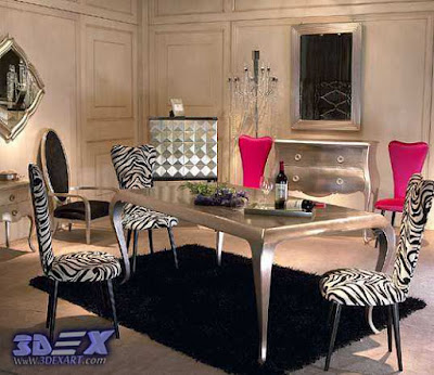 art deco style, art deco interior design, art deco dining room decor zebra print