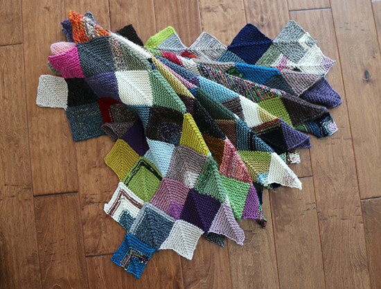 Knit Wool Mitered Square Scrap Blanket