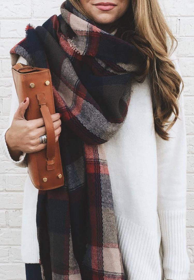 fall ootd | bag + white sweater + plaid scarf