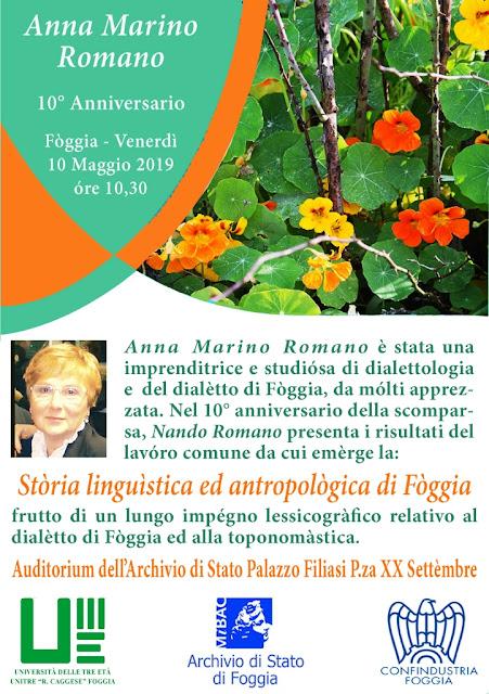 Storia linguistica ed antropologica di Foggia. 10° anniversario Anna Marino Romano, incontro presso Archivio di Stato di Foggia