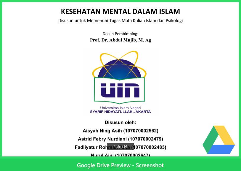 Contoh Makalah Agama Tentang Islam Psikologi