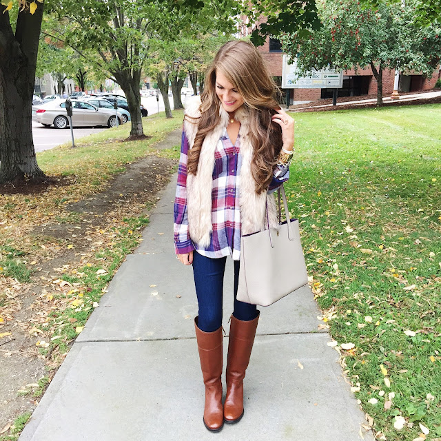 9c689538871 Pair a sweater vest with plaid top