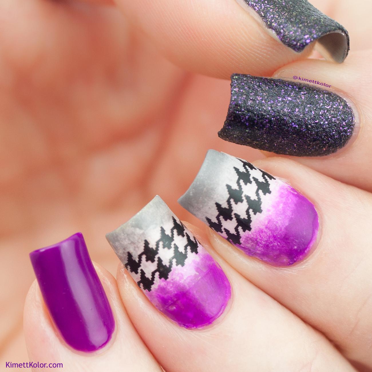 KimettKolor Purple and Houndstooth Nail Art