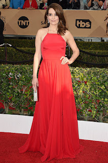 Red Chiffon A-line Spaghetti Straps Halter Neck Celebrity Prom Dress - Tina Fey