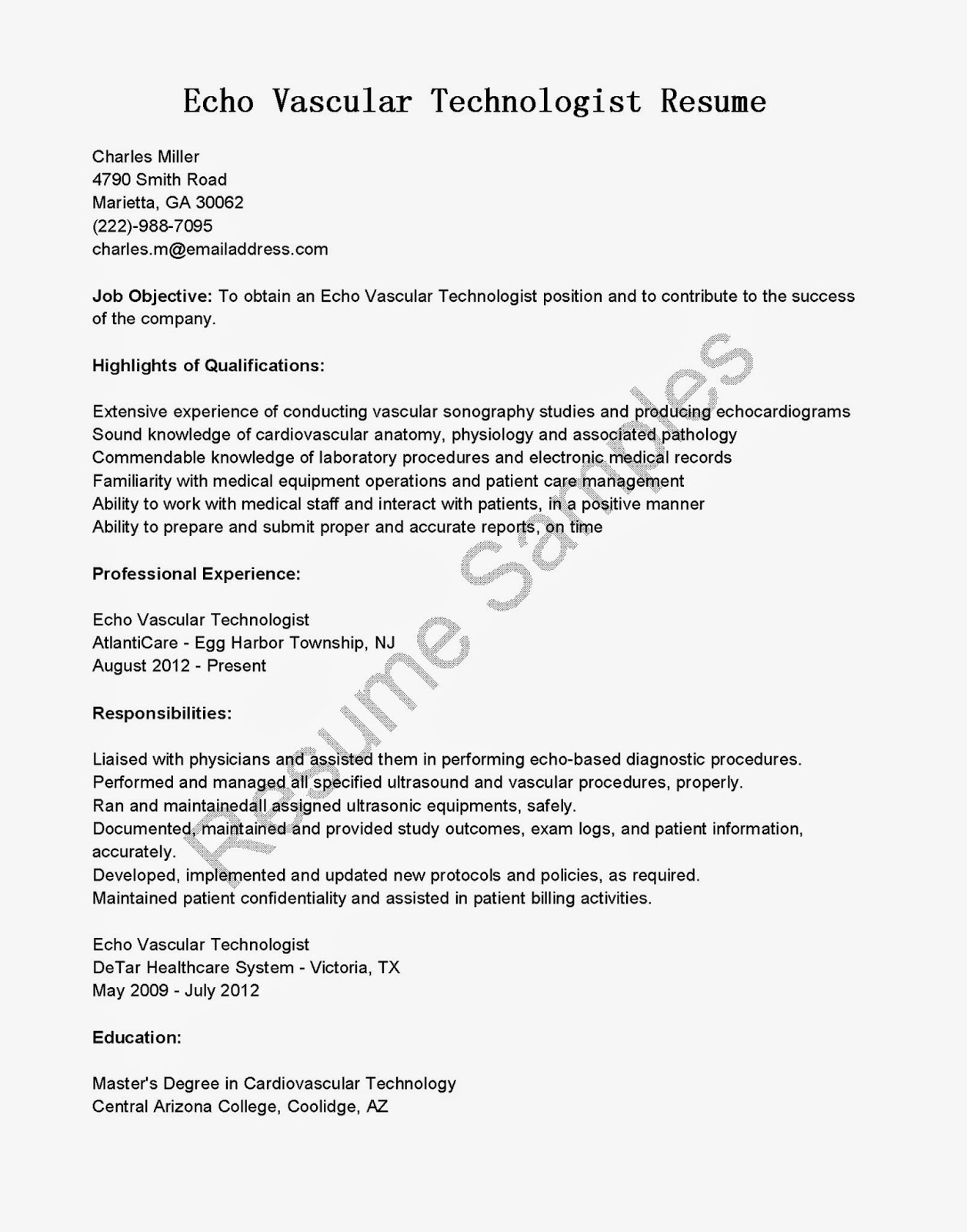 resume samples  echo vascular technologist resume sample