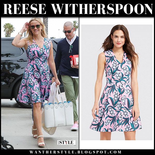 Reese Witherspoon in pink floral print dress with white bag draper james spring summer style may 13
