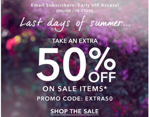 Forever 21 Last Days of Summer Extra 50% off Sale Promo Code
