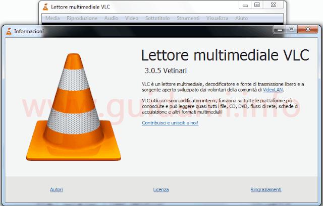 VLC 3.0.5 logo finestra informazioni su VLC