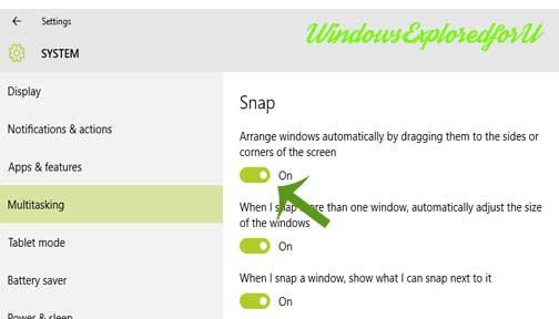 Turn On /Off Aero Snap in Windows 10