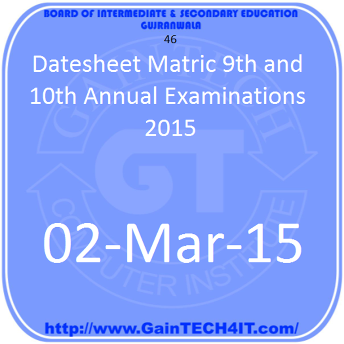 Matric Annual 2015 Datesheet