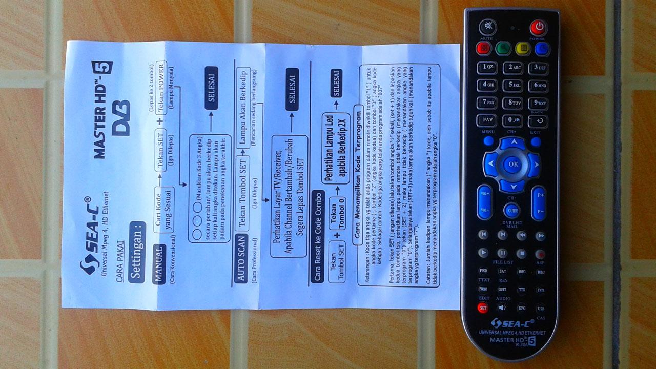 Cara Setting Remote Universal Untuk Receiver di Master HD