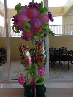 Unique flower balloon column with balloon butterfly