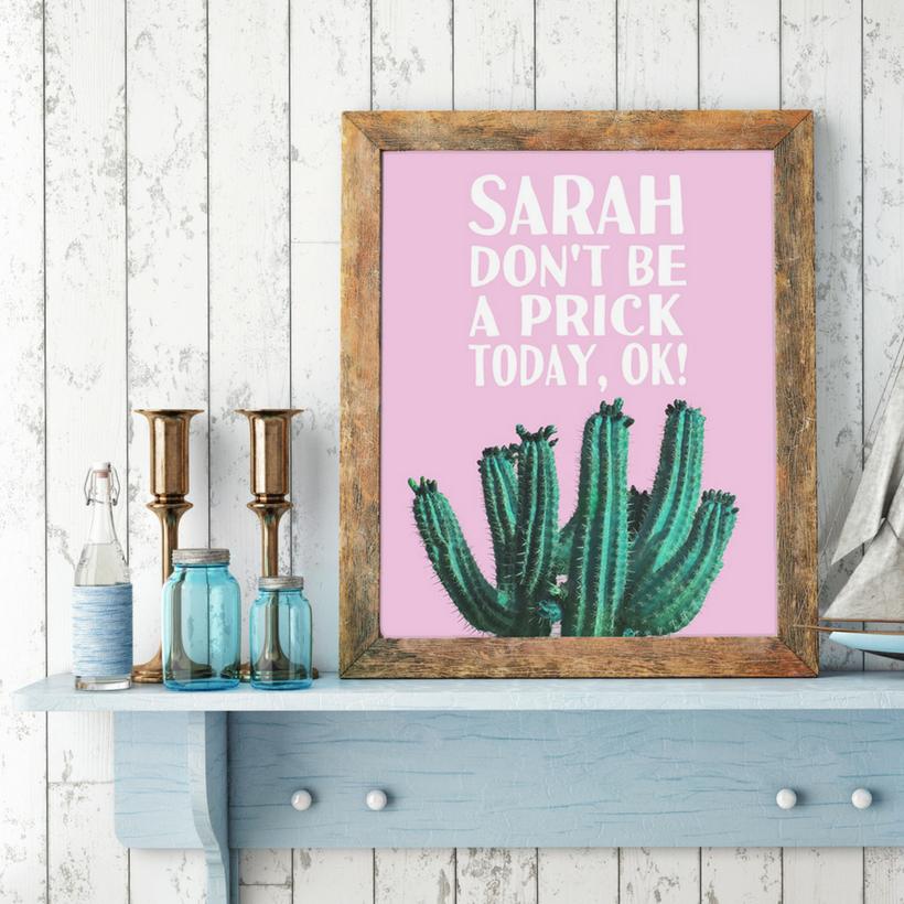 cactus print, pink and green cactus art, cactus wall art