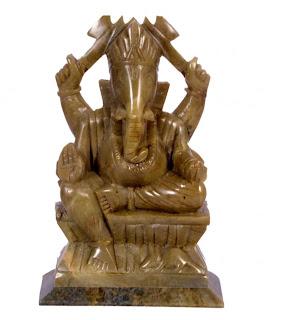 Brown Soap Stone Handicraft Ganesh Idol 12