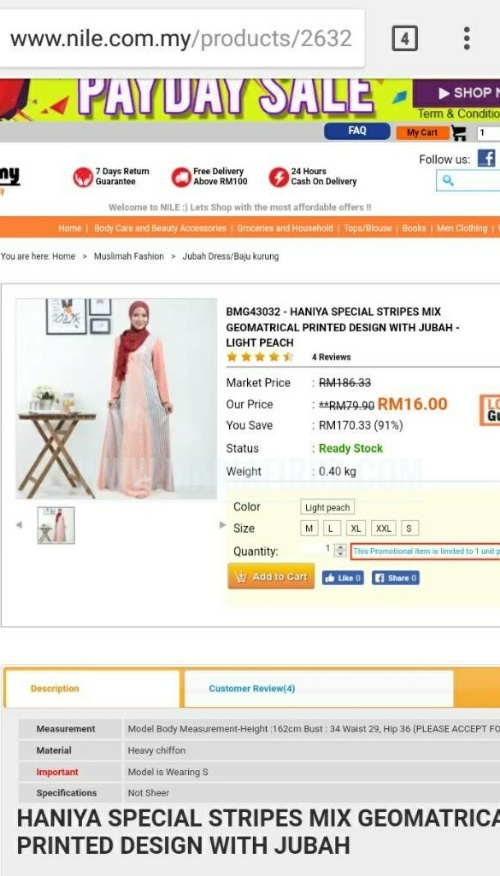 Jubah Dress RM16 di Nile.com.my