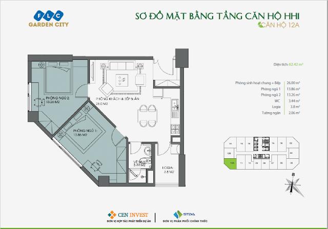 Thiết kế căn hộ 12, 62m, HH1 FLC Garden City