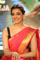 Kajal Aggarwal in Red Saree Sleeveless Black Blouse Choli at Santosham awards 2017 curtain raiser press meet 02.08.2017 050.JPG