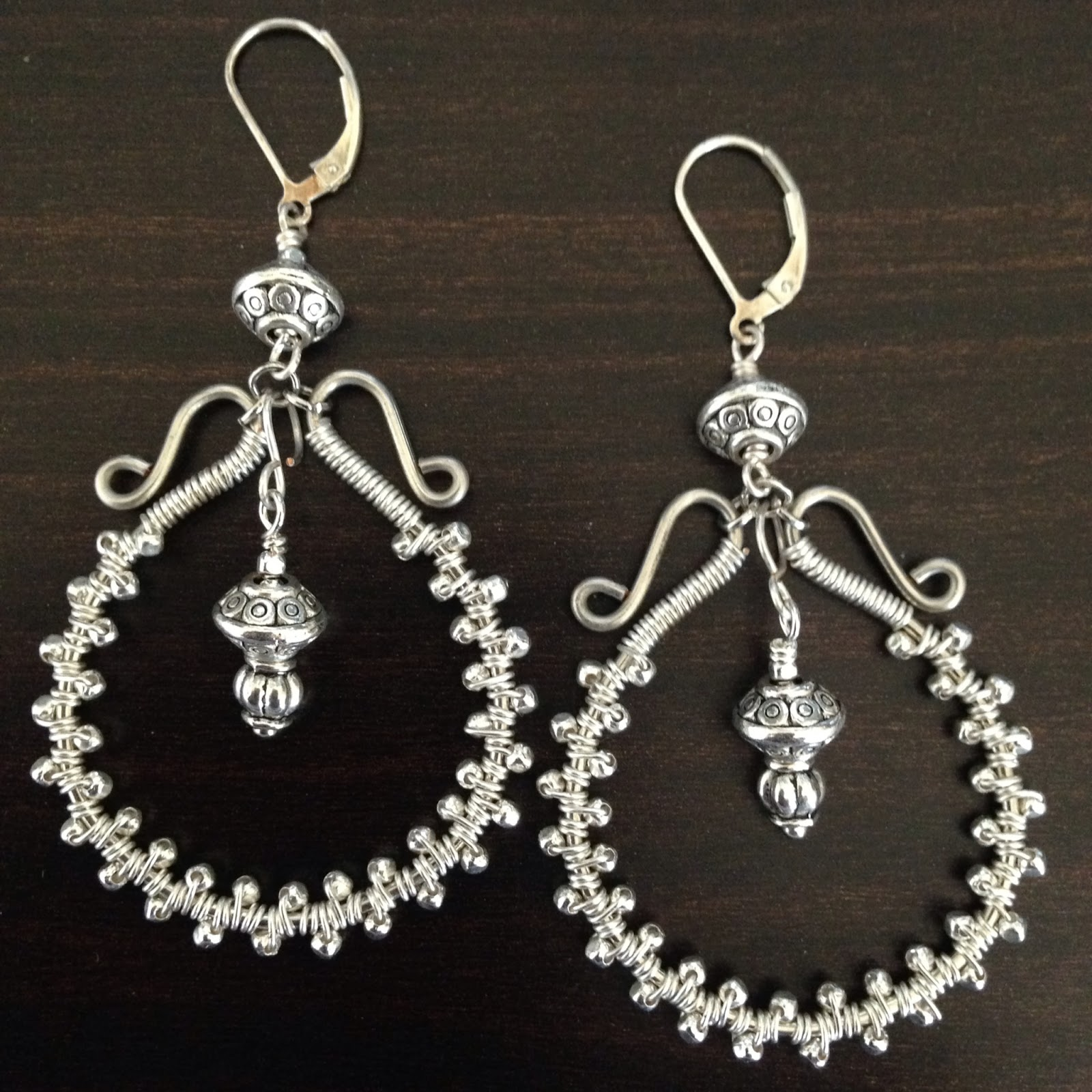 Wire Wred Silver Chandelier Earrings Last Week I Posted About A Link Chain And Pearl Necklace Recently Created Well My Husband Was Out Of Town
