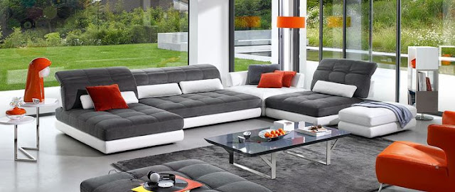 leather sofa set for living room with dark concrete floors
