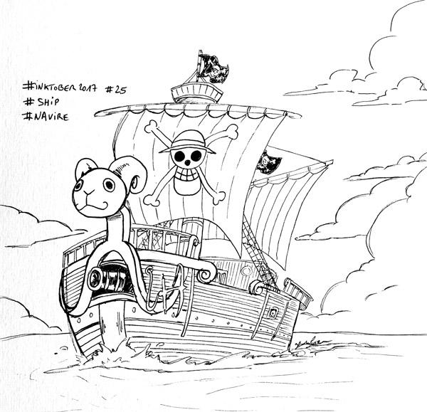 Inktober 2017 - Jour 25 - Navire (Ship) - le bateau pirate de One Piece