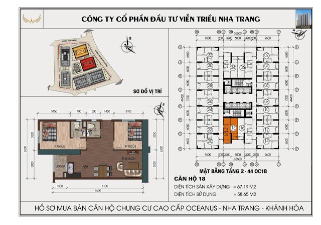 Sơ đồ căn hộ số 18 tòa OC1B Viễn Triều Nha Trang
