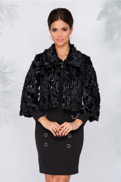 Haina femei din blanita neagra cu paiete eleganta de ocazii de iarna la reducere