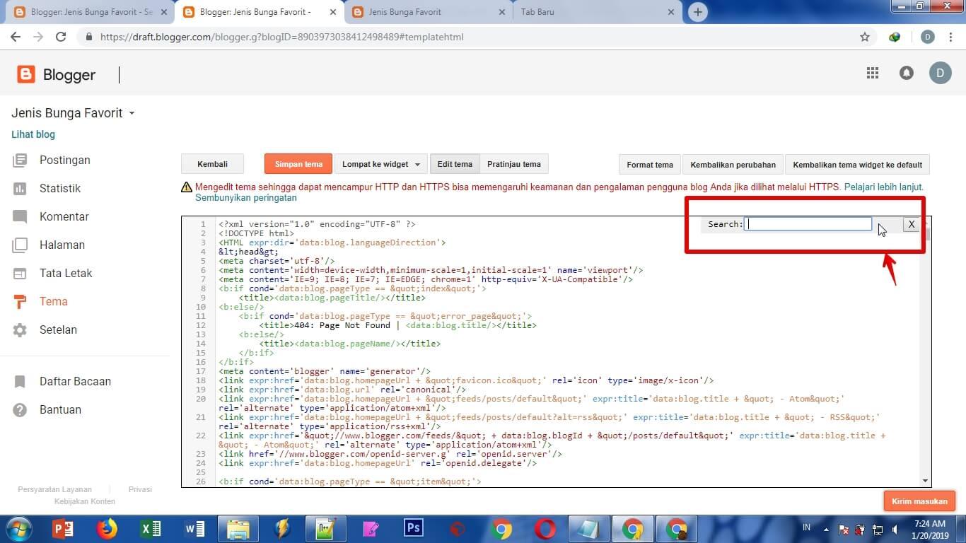 Memasang Kode template Blog